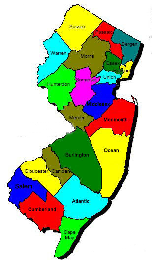 county map of nj world map